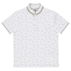 Júnior - Polo de manga corta con estampado de manos all-over con cuello mao