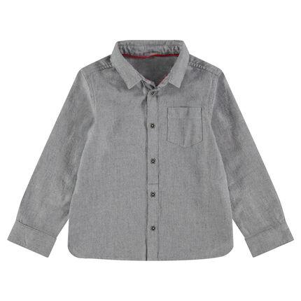 Camisa de manga larga de algodón cosido con bolsillo