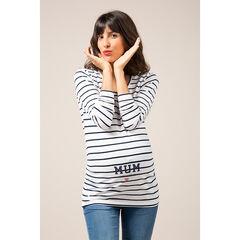 Camiseta premamá de manga larga a rayas con estampado de fantasía