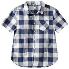 Júnior - Camisa de manga corta de cuadros en contraste