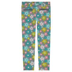 Jeggings de milano con estampado de flores de colores all over y bolsillos con cremallera
