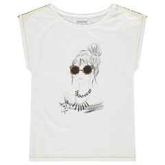 Júnior - Camiseta de manga corta con silueta estampadas y bordados