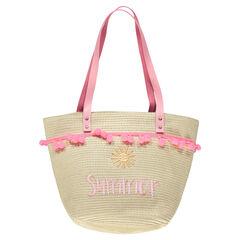 Bolso de paja con mensaje bordado y asas rosas