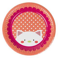 Juego de 10 platos de cumpleaños de cartón con dibujo de gato