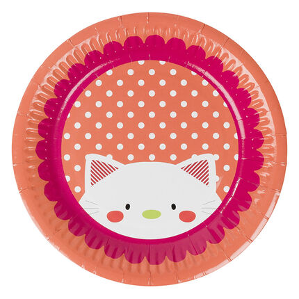 Lot de 10 assiettes en carton motif chat