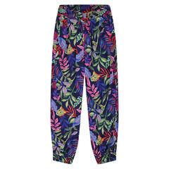 Pantalón fluido con estampado de selva