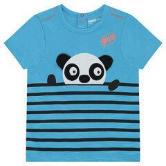 Camiseta de manga corta de punto con rayas intercaladas y panda en relieve