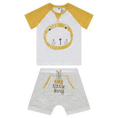 Conjunto de camiseta con león estampado y bermuda con bolsillo de canguro