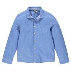 Camisa manga larga de color liso con bolsillo