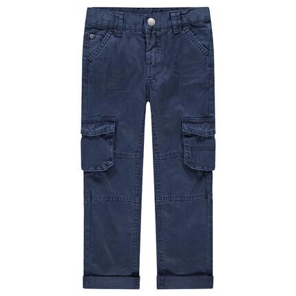 Pantalón de algodón teñido con amplios bolsillos con solapa