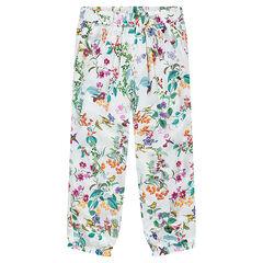 Pantalón corto 7/8 fluido con estampado de flores y pájaros