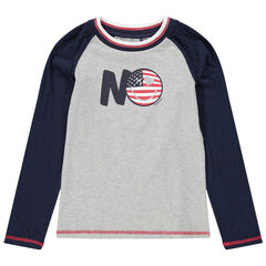 Júnior - Camiseta de manga larga de punto bicolor con Smiley estampado