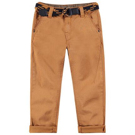 Pantalón de algodón teñido con cinturón trenzado desmontable