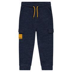 Pantalón de chándal de felpa jaspeada con bolsillos de solapa