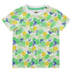 Camiseta de manga corta con estampado tropical y ©Smiley estampado