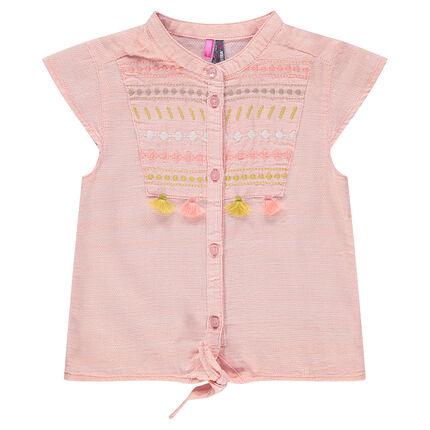 Camisa de manga corta con bordados y pompones