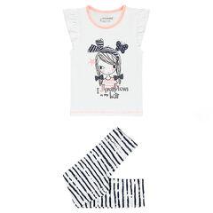 Pijama de punto con camiseta estampado de muñeca y leggings de rayas