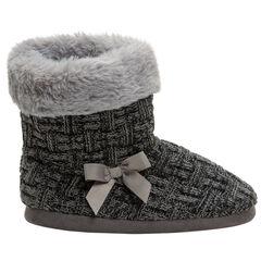 Zapatillas con forma de botas de punto y forro de pelo sintético