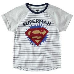 Camiseta de manga corta raglán con logo Warner Superman de lentejuelas mágicas