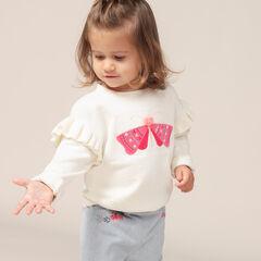 Jersey de punto fino con mangas con volantes y mariposa bordada