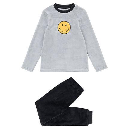 Pijama de polar bicolor con ©Smiley cosido