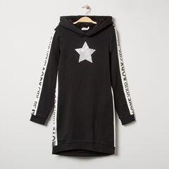 Júnior - Vestido de felpa con capucha y bandas con inscripciones que contrastan