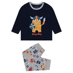 Pijama de punto con vikingos estampados