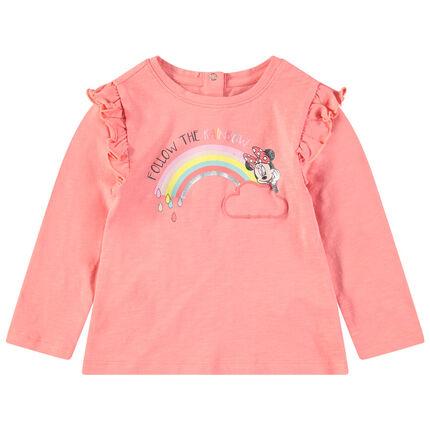 Camiseta de manga larga con volantes y estampado de Minnie  Disney y arcoíris