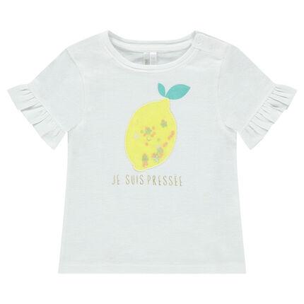 Camiseta de manga corta con volantes y estampado de fantasía por delante
