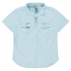 Júnior - Camisa de manga corta con diseño de tejido de fantasía