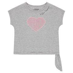 Camiseta de manga corta de forma cuadrada con corazón brillante cosido