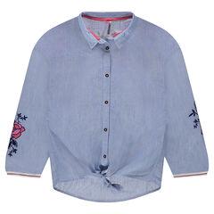 Júnior - Camisa de manga larga de rayas con flores bordadas