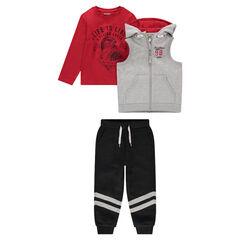 Chándal de 3 piezas con camiseta estampada, chaleco y pantalón con bandas