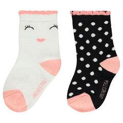 Juego de 2 pares de calcetines variados con motivo de jácquard de fantasía