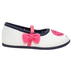 Zapatillas de punto con tira elástica y lazo rosa ©Smiley