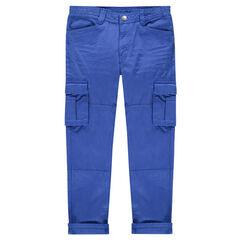 Júnior - Pantalón azul de estilo cargo con bolsillos y solapa