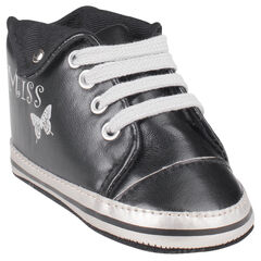 Zapatos merceditas de caña alta de color negro con pliegue y con cordones