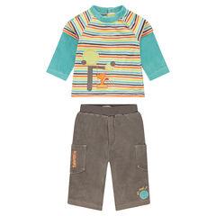 Conjunto de camiseta de rayas con efecto 2 en 1 y pantalón de terciopelo
