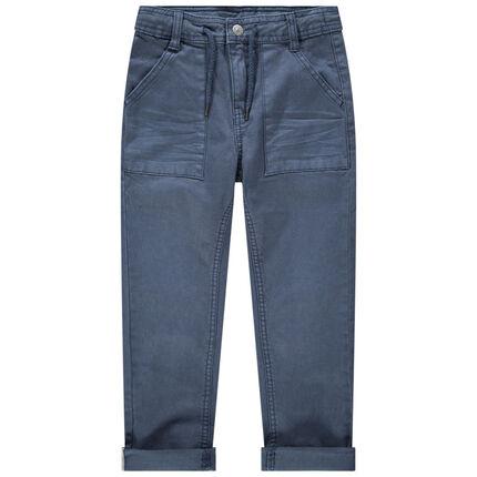 Pantalón azul teñido con bolsillos y cordones de cierre