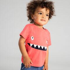Camiseta de manga corta de punto slub con monstruo por delante