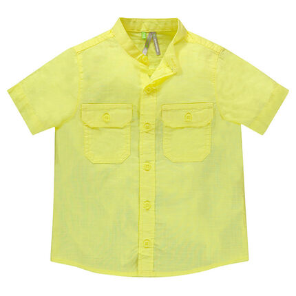 Junior - Chemise manches courtes col mao