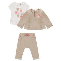Conjunto de 3 piezas con camiseta estampada, chaqueta con cremallera y pantalón de muletón