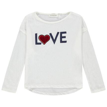 Camiseta de manga larga lisa con mensaje estampado y corazón de terciopelo