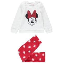 Pijama de borreguillo bicolor con Minnie Disney de lentejuelas