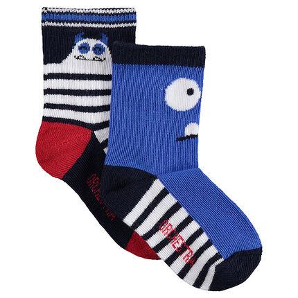 Juego de 2 pares de calcetines con monstruos de jacquard