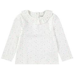 Camiseta de manga larga con cuello con volantes y lunares que contrastan all over
