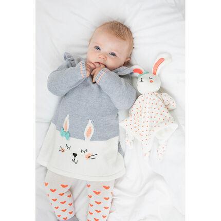 Vestido de punto de manga larga con conejo de jacquard y volantes