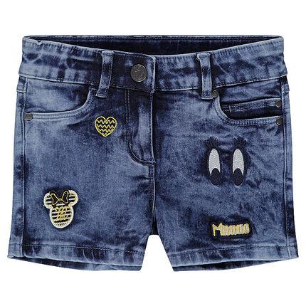 Pantalón corto con efecto vaquero desgastado con parches Minnie ©Disney