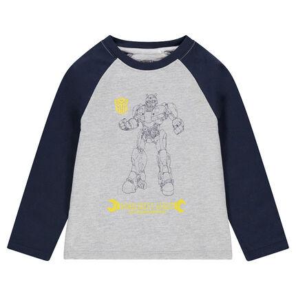 Camiseta de manga larga bicolor de punto con estampado de ©Transformers