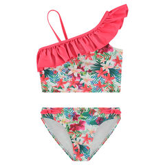 Bikini con volantes y flores estampadas all over